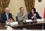 Minister for Finance Edward Scicluna presents the pre-Budget document 2016 to MCESD. Minister for Social Dialogue, Consumer Affairs and Civil Liberties Helena Dalli in attendance. MSDC Barriera Wharf, Valletta