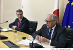 Minister for Finance and Financial Services Edward Scicluna and Minister within the Office of the Prime Minister Carmelo Abela address the MCESD - MEUSAC meeting on the National Reform Programme Sitcen Room, Auberge de Castille