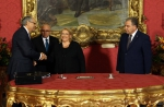 The President of Malta Marie-Louise Coleiro Preca is presented with the Budget Speech, estimates and the economic survey, by Minister for Finance Edward Scicluna